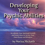 Cover art for Developing Your Psychic Abilities--a sunset over the ocean in gorgeous clear blues, purples, an dpinks