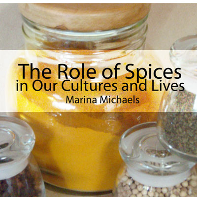 Album art for Spices: a large jar of turmeric surrounded by smaller spice jars