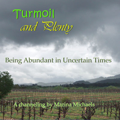Album art for Turmoil and Plenty; a stormy vineyard with album text