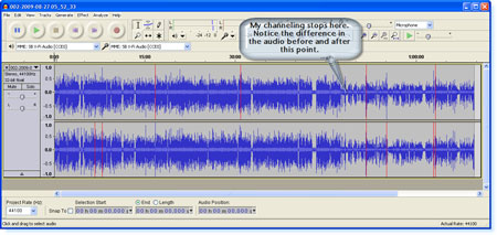 A screen shot of my recording shows larger and denser audio bands while I am channeling.